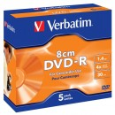 Диск DVD-R Verbatim 1.4Gb 4X MattSilver 5 Pack Jewel Case (43510)