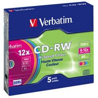 Диск CD-RW Verbatim 700Mb 12X SlimBox 5шт Color (43167)