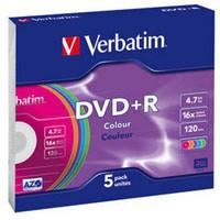 Диск DVD+R Verbatim 4.7Gb 16X SlimBox 5 шт Color (43556)