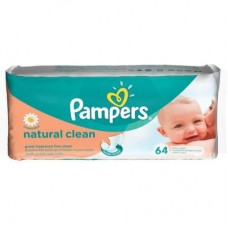 Влажные салфетки Pampers Natural Clean 64шт (4015400636830)