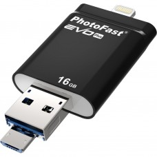 USB флеш накопитель PhotoFast 16GB i-Flashdrive EVO Plus Black USB3.0-microUSB/Lightning (EVOPLUS16GBU3)