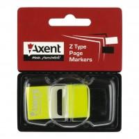 Стикер-закладка Axent Plastic bookmarks 25х45mm, 50шт, neon yellow (2446-01-А)