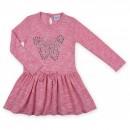 Платье Breeze розовое меланж с бабочкой (7865-128G-pink)