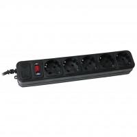 Сетевой фильтр питания Maxxter SPM5-G-6B чорний, 1.8 м кабель, 5 розеток (SPM5-G-6B)