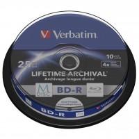 Диск BD-R Verbatim 25Gb 4x Cake 10pcs Printable M-DISC (43825)