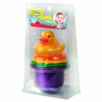Развивающая игрушка BeBeLino Пирамидка-стаканчики с брызгалкой для ванной Утенок (57110)