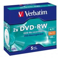 Диск DVD-RW Verbatim 4.7Gb 2x Jewel Case 5шт Matt Silver (43234)