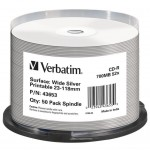 Диск CD-R Verbatim 700Mb 52x Cake box Printable Silver 50шт (43653)
