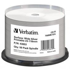 Диск CD-R Verbatim 700Mb 52x Cake box Printable Silver 50шт (43653)