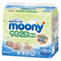 Влажные салфетки Moony для ягодиц Деликатные 3 х 80 шт (4903111181070)