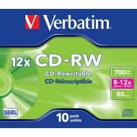 Диск CD-RW Verbatim 700Mb 8-12x Hi Speed Jewel Case 10 (43148)