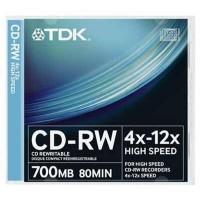 Диск CD-RW TDK 700MB 12x SlimJewelCase 10шт (t18792)