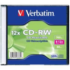 Диск CD-RW Verbatim 700Mb 12X SlimBox 1шт Matt Silver (43762-поштучно)