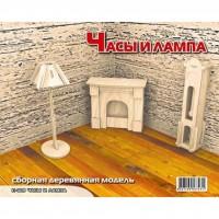 Сборная модель Мир деревянных игрушек Часы и лампа (П009)