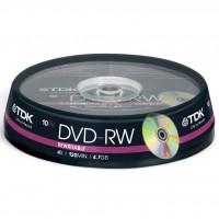 Диск DVD-RW TDK 4.7GB 4x Cakebox 10шт (t19525)