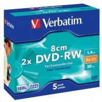Диск DVD-RW mini 1.4Gb 2X Hardcoat Jewel 5шт Verbatim (43514)