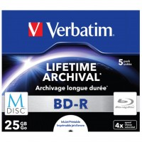 Диск BD-R Verbatim DL 25Gb 4x Jewel Case 5шт M-Disc Archival Media (43823)